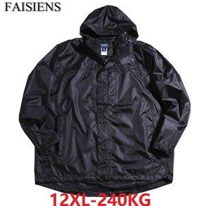 Big 9XL 10XL Cheap Out Door Men Windbreaker Jackets Hooded Waterproof Autumn Plus Size Black Zipper 70 11XL 12XL Oversize Coat
