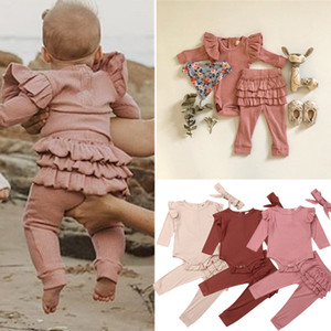 kids clothes girls outfits children Flying sleeve Top+Ruffle Skirt Pants+Headband 3pcs set Spring Autumn baby Clothing Sets Z0800