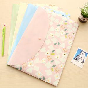 Korean student cute A4 test paper paper bag floral transparent folder button information bag