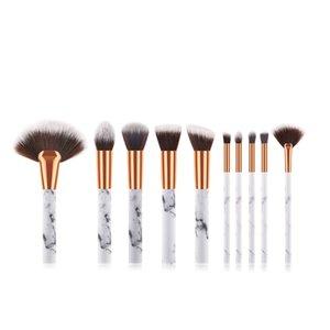 10 Pcs Marble Makeup Brushes Set Powder Foundation Eyeshadow Lip Kit Of Brushes Full Professional Make up brush Beauty tools