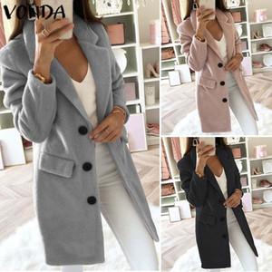 VONDA 2019 Trench Femmes Automne Hiver Slim Trench Bouton Casual poches solides à long coupe-vent Vintage Blends Manteaux Plus Size