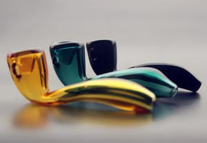 QBsomk Heady Kaşık Boruları Sigara Labs IçinHeady Cam Sherlock Cam El Boru Pot Sigara Tütün Kaşık Borular yüksek kalite ucuz fiyat