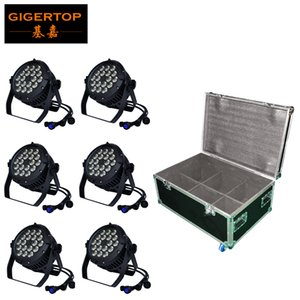 TIPTOP Stage Light 18x18W LED DJ Par luce RGBWAUV 6in1 Par Can 64 DMX512 Disco Bar impermeabile Rack Flight Tour Case 8in1 Pack TP-P105C