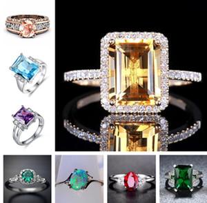 Solitaire Anneaux Somptueux 18K Rose Diamond Brillant Diamond Topaz Purple Shinning Emerald Opal Rose Promise Rose Bagues Bagues Pour Femmes Girl Bijoux