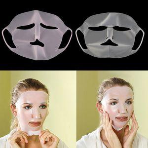 Piel de silicona reutilizable Mascarilla Cuidado de chapa de máscara Herramienta de belleza evitar la evaporación de vapor reutilización máscara a prueba de agua rosa / blanco