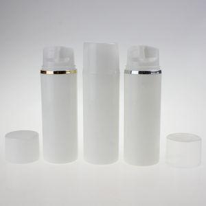 altın veya gümüş yaka, vakum pompası şişe toptan ile yüksek dereceli 100ml pp plastik yuvarlak beyaz havasız pompa şişe