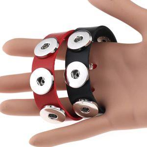 Al por mayor Snap Button BraceletBangles 14 de color de alta calidad PU pulseras de cuero para las mujeres de 18 mm WCW718 Snap Button joyería