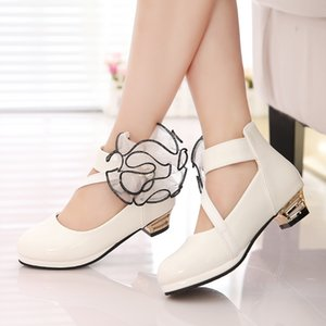 New Children High Heel for Girls Leather Shoes Fashion Wild White Dress Princess Flower Shoes Kids Party Wedding Dance Red Shoes