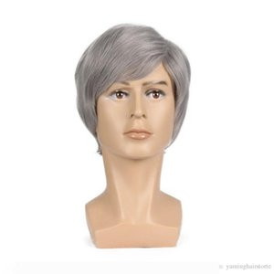 A Short Men Wig Straight Synthetic Wig for Men Male Hair Fleeciness Realistic Silver Natural Toupee Wigs