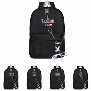 Trump 2020 Backpack with chains USA Flags School Bags Teenage Girls Women Book Bag Youth Leisure College Backpacks LJJA3615-13