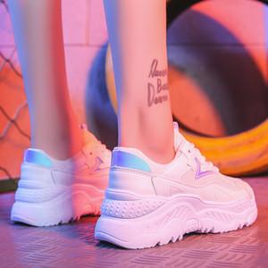 Женская обувь Белые кроссовки Женские корейском стиле Вулканизировать обувь Платформа коренастые кроссовки Повседневная обувь папа Корзина Femme Krasovki MX190723