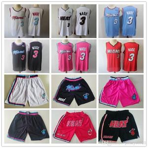 Mens MiamiChaleurVilleEdition Throwback Dwyane Wade 3 Basketball Shorts Basketball Maillots rose blanc noir rouge noir