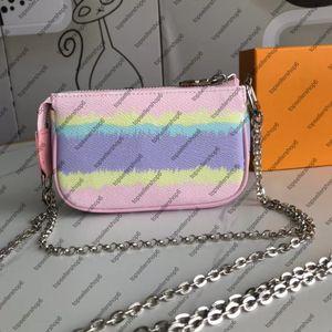 ESCALE POCHETTE ACCESORIOS M69269 monedero de las mujeres mini diseñador Hobos del embrague bolsa con la serie de cadena de plata de Nueva tinte del lazo gigante pequeños bolsos