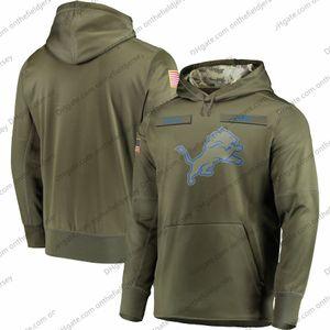 Mens Detroit Moletom Com Capuz Lions 2018 Olive Salute para Serviço Sideline Therma Desempenho Pullover Hoodie S-3XL