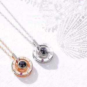 Gül Altın Gümüş 100 Dilleri Seni Seviyorum Projeksiyon Kolye Kolye Romantik Aşk Bellek Düğün Kolye Bildirimi Jewerly Sevgililer hediye
