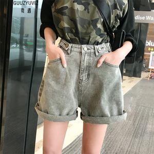 GUUZYUVIZ Shorts Casual Jeans Femme taille haute Denim Femme Vintage Harem Court Jean Court Femmes d'été Spodenki Damskie Mujer