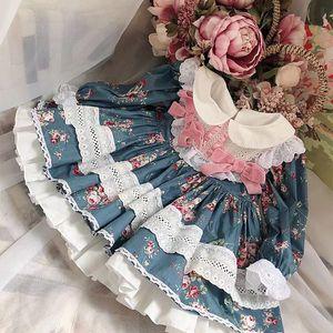 девочка дизайнер одежды платье Испания Стиль бутик с длинным рукавом Полный цветок лук кружева Ruffles дизайн девушка платье Весна одежды осень платье