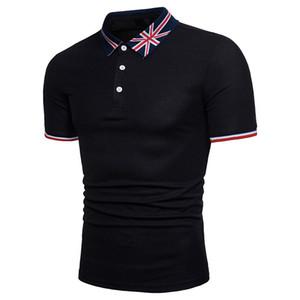 2019 personnalité d'été des hommes chemise polo occasionnels impression à manches courtes flag flag Anglais rice broderie mot de grande taille à manches courtes polos