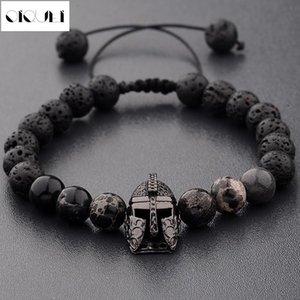 OIQUEI 2018 tendencia de la moda Imperial cuentas de piedra pulsera para las mujeres o hombres de las pulseras de metal Casco Charm Bangles Pulseira Hombres