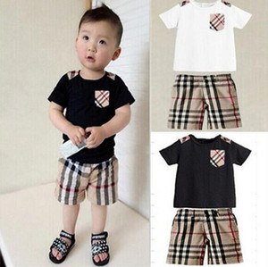 Verão designer de rótulo bebê meninos meninas camisetas + shorts ternos crianças tees tops calças marca crianças conjuntos de roupas