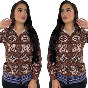 J2149 European and American cross-border women's retro fashion printed shirt women's fashion new casual shirt women