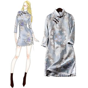 Lace Patchwork Tight Dress for Woman Chinese Traditional Costumes Cheongsams Embroidered Floral Female Oriental Outfits Qipao