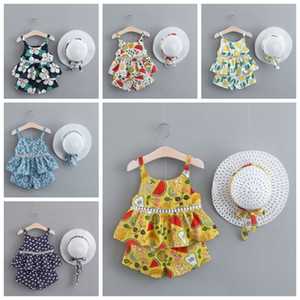 Flower Girl Outfits Bebés Meninas Floral Tops Shorts Hat 3PCS Set Suspender roupa da criança Set Verão Roupas de bebê 7 Designs DHW3884