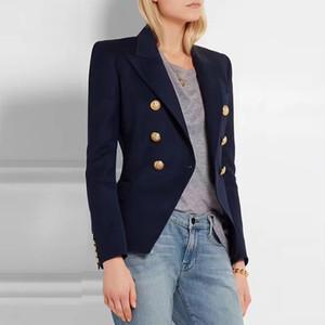 HAGEOFLY 2017 Giacchette Ufficio Giacche Blazer blu donne Coat delle donne casuali Bottoni Doppio Petto metallo giacca Y200107 delle donne