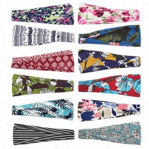 Neue Entwurfs-Unisexstirnband Outdoor Sport Haar-Band-Haarbänder Blumendruck schweißabsorbierend Band Frauen breitkrempigen Kopfschmuck D6903 headwrap
