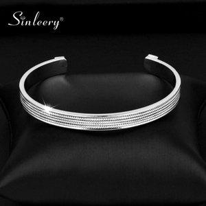 SINLEERY Simple Argent Couleur Métal ouvert Cuff Bracelet Bracelets pour les femmes Pulseras Mujer Bijoux Cadeaux de mariage Sl349 SSH