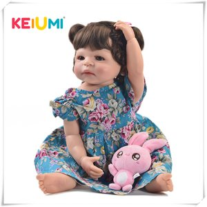 Keiumi 22 Zoll Mode Wiedergeboren Lebendig Mädchen Ganzkörper Silikon Realistische Prinzessin Baby Puppe Für Kinder Weihnachtsgeschenke Diy Frisur Q190530