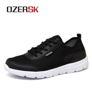 Ozersk Shoes Verão Sneakers respirável Moda Malha Casual Sapatos Casal amante Mens malha Shoes Big Plus Size Lace up