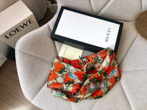 Mit Box Designer Silk Turban Stirnband Haarbänder für Frauen-Sommer-neue Itay Marke Erdbeer-Stil Stirnbänder Kopftuch Dropshipping