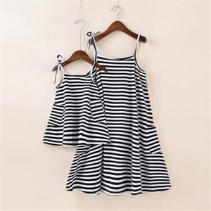 Elbiseler Giyim Kıyafetler Yaz Çocuklar acısını kemer Giyim Elbise Eşleştirme Çevre Dostu anne kızı Giyim Veli-Çocuk Çizgili Gömlek