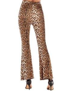 Mulheres Corpo Inteiro leopardo perna larga fêmeas Hip Hop Calças Roupa Womens Primavera Mulher designer Pants