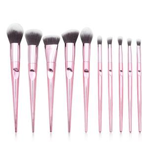 Gemtotal Diamond Makeup Brushes Set 10 piezas Base Corrector Contorno Rubor en polvo Sombra de ojos Cejas Pelo sintético (Negro)