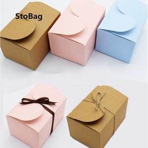 StoBag 10pcs Biscuit Baking Nougat Packaging Box Mousse Cake Candy Gift Box Wedding Birthday Party Christmas Favors DIY Handmade