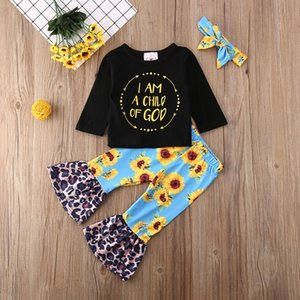 Pudcoco del niño de la niña de ropa Carta de manga larga camiseta tops girasol estampado leopardo pantalones de campana diadema 3 piezas Trajes Set