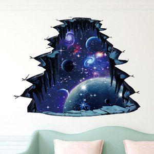 A Hot Selling of 3D Universe Broken Wall Stereo Floor Vision Water Moon Outer Space Waterproof Wall Sticker Porcelain Stick 5711