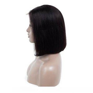 Brezilyalı 10A İnsan Saç 13X4 Dantel Açık Peruk Remy Bob Peruk 8-18inch Düz Virgin Saç Dantel Açık Peruk Doğal Renk