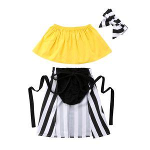Bebé lindo que los niños envolvió el pecho + shorts + raya falda Headwear 4Pcs equipos del verano Niño Niñas juego de ropa