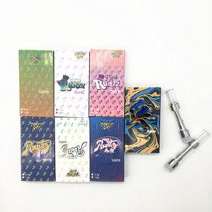 Runtz тележка Нажмите Vape Патрон Упаковки коробки 0,8 мл 1,0 мл 510 нефти Испаритель керамической Нажмите на кончиках Vape ручки пустого бака с коробкой дисплея