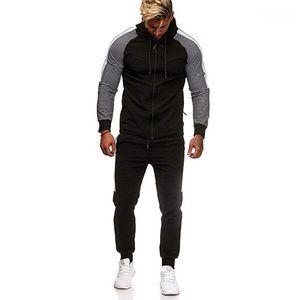 Mens 2ST-Satz-beiläufige Männer Kleidung Stripe Panelled Herren Designer Tracksuits Mode Reißverschlusstaschen Panelled Kapuze lange Hosen