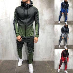 ZOGAA 2018 Marca Hombres Chándal Conjunto de 2 piezas Color degradado en 3D Sudaderas con capucha casuales Sudadera y pantalones Ropa deportiva Joggers Conjuntos de hombres