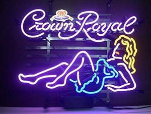"Crown Royal chica de neón 17 pulgadas ""x14"" brillante luz de neón de conservación Beer Bar bar Garaje Habitación"