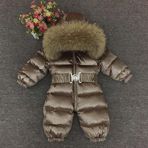 0-4 Anos Grosso Crianças Snowsuit Criança Rapazes Raparigas Inverno Outwear Brasão neve desgaste Down Jacket real Fur Hodded Quente Jumpsuit Z105