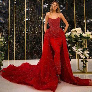 Glamorous Red Detachable Train Evening Dresses Strapless Beaded 3D Flower Arabic Dubai Evening Gown Overskirt Ankle Length Celebrity Dress