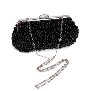 Handmade Pearl Women Day Clutches Wedding Diamonds Beaded Soft Evening Bags Chain Shoulder Purse Handbags