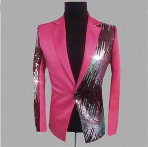 Design di lusso Mens Jackets Mens di modo di Paillettes rivestite Notte Club Blazers cappotto tuta sportiva casuale Mens con monopetto