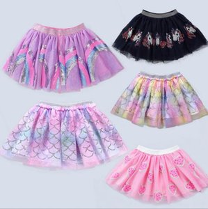 5 colores Mermaid Unicorn Paillette Tres capas de Faldas de princesa Cute Girl Summer Tutu Skirt envío gratis